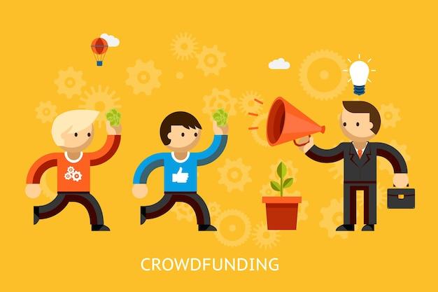 メガホンで宣伝する明るいアイデアを持つビジネスマンとベクトルイラストを投資するために走っているお金を持つ人々とのクラウドファンディングの概念
