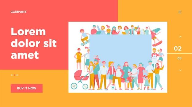 Folla di persone felici con illustrazione piatta cartello bianco.