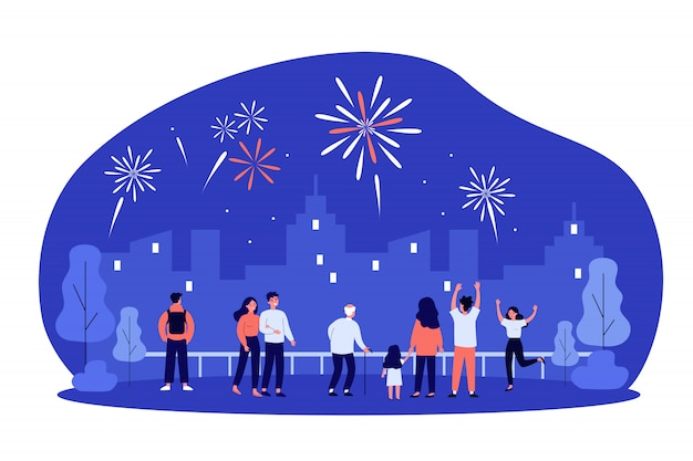 Толпа горожан празднует городской праздник