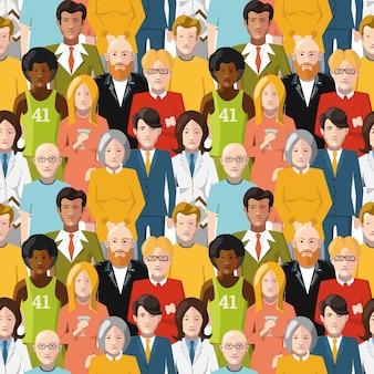 平らな国際的な人々のシームレスパターンの群衆