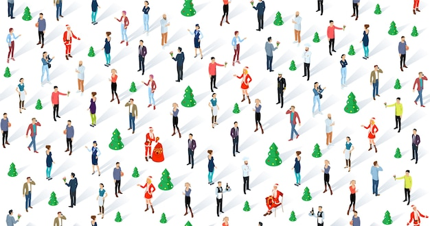 Толпа людей празднует рождество и новогоднюю вечеринку