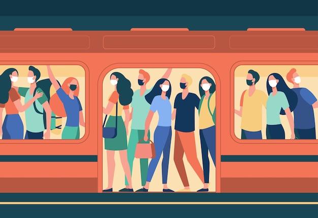 지하철 기차에 서있는 마스크에있는 사람들의 군중. 대중 교통, 승객, 통근 평면 벡터 일러스트 레이 션. covid, 전염병, 보호
