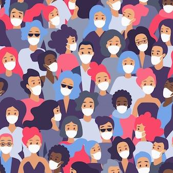 医療用防護マスクのシームレスパターンフラットイラストの人々の群衆。コロナウイルスからの保護新規コロナウイルス2019-ncovコンセプト。検疫時間