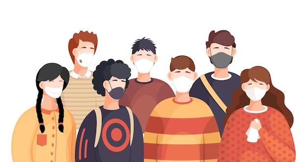 呼吸器用医療マスクの人々の群衆