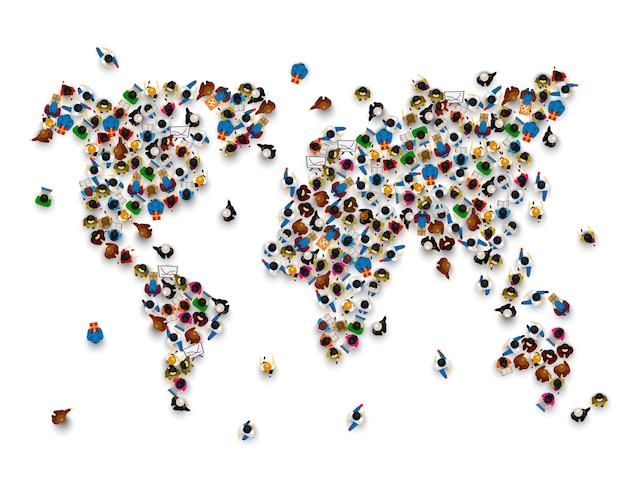 흰색 바탕에 세계 지도의 형태로 사람들의 군중. 벡터 일러스트 레이 션