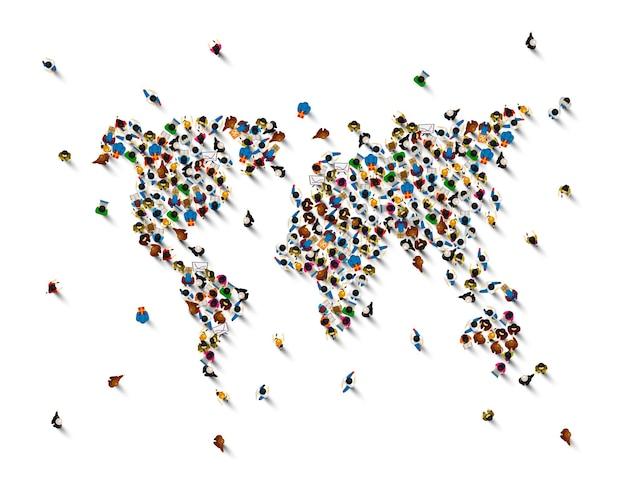 Толпа людей в виде карты мира на белом фоне. векторная иллюстрация