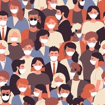 코로나 바이러스 격리로부터 보호하기 위해 흰색 의료용 얼굴 마스크에있는 사람들의 군중