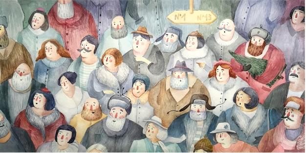 Толпа людей, нарисованных в стиле акварели