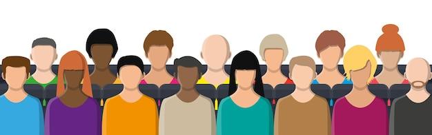 並んで座っている人々の群衆。ビジネス会議、会議、映画館、劇場の概念。人々の顔、アバターアイコン、色の漫画のキャラクター。男性と女性。ベクトルイラストフラットスタイル