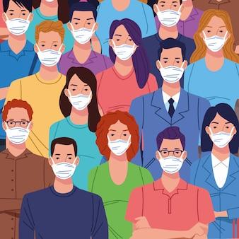 코로나 바이러스에 얼굴 마스크를 사용하는 사람들의 군중