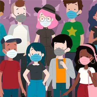 フェイスマスクを着ている人の群れ