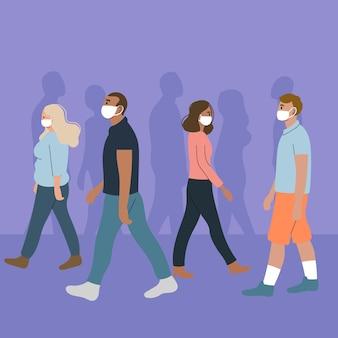 Толпа людей в масках