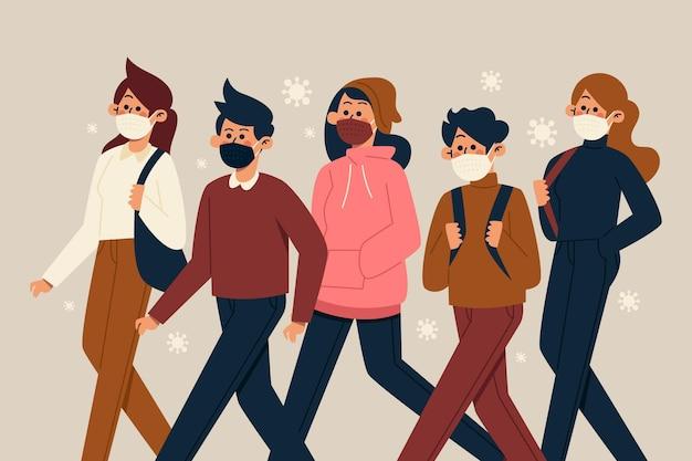 얼굴 마스크를 착용하는 사람들의 군중