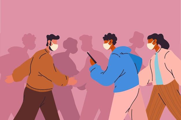 医療用マスクを着ている人の群れ