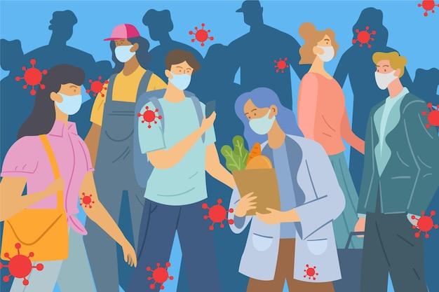 의료 마스크를 착용하는 사람들의 군중