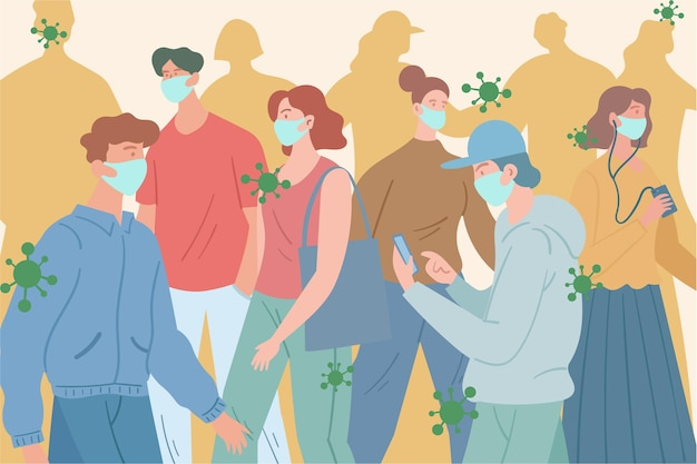 Толпа людей в медицинских масках