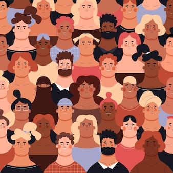 Толпа людей разного цвета кожи и разных национальностей в модном стиле