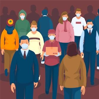 マスクを持つ人々の群衆