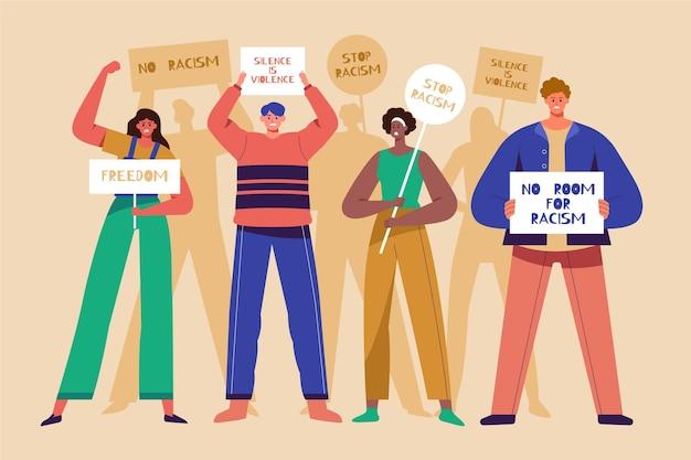 プラカード差別概念を持つ人々の群衆