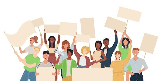 バナー、旗で抗議する人々の群衆。政治集会と抗議の概念。パレードやラリーに参加する人。男性と女性の抗議者または活動家。
