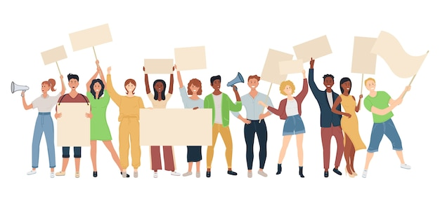 バナー、旗で抗議する人々の群衆。政治集会と抗議の概念。ストリートデモベクトルの概念。プラカード抗議者、政治革命、デムのイラスト