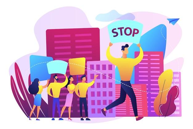 회의에서 중지와 플래 카드와 배너를 들고 작은 사람들을 항의하는 군중. 대규모 회의, 사람들의 집회, 자발적인 집회 개념.