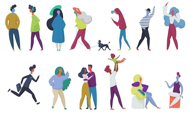 小さな人々の群衆が設定されます。子供を持つ親、恋するカップル、ペットを持つ学生。