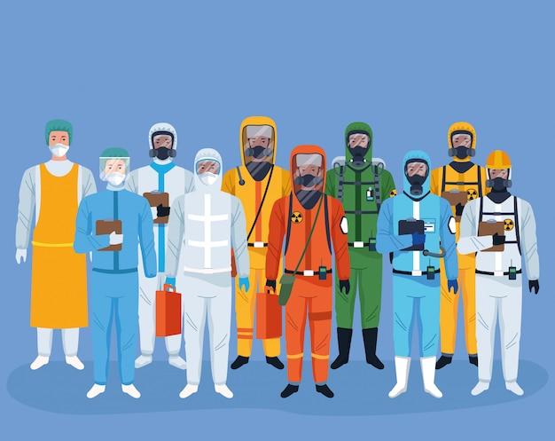 보호 바이러스를 사용하는 노동자의 군중은 문자에 적합