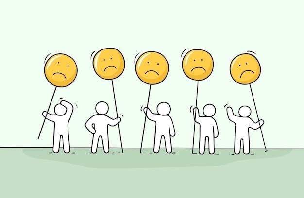 슬픈 노래와 함께 일하는 작은 사람들의 군중. 의사 소통에 대한 귀여운 미니어처 낙서. 채팅 및 웹 디자인을 위한 손으로 그린 만화 벡터 일러스트 레이 션.
