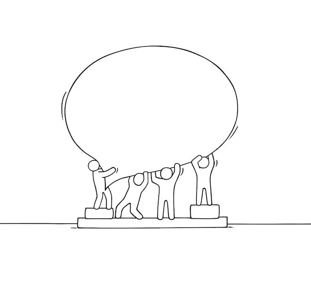 Толпа работающих маленьких людей с речевым пузырем. doodle милая миниатюрная сцена с пустым сообщением. рисованной иллюстрации шаржа для интернет-дизайна.