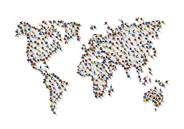 Crowd of people in the form of world map on white background . vector illustration