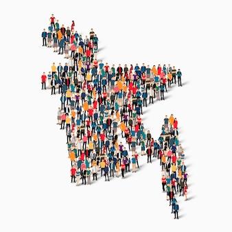 バングラデシュの地図を形成している群衆の人々のグループ。