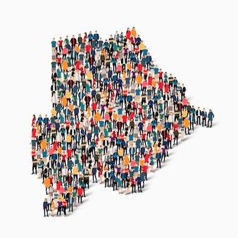 ボツワナの地図を形成している群衆の人々のグループ。