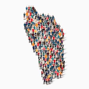 ドミニカ国の地図を形成する群衆の人々のグループ。