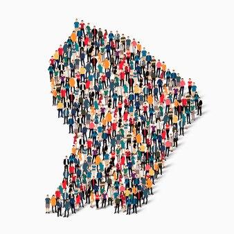 フランス語の地図を形成する群衆の人々のグループ。