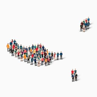 Толпа людей формирует карту мадейры.