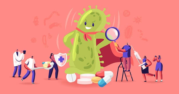 Crowd of people protecting themselves from huge green humanoid microbe wearing red superhero cloak. cartoon flat illustration
