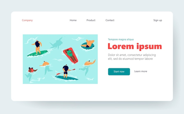 Crowd of people in sea or ocean. people playing, swimming, surfing, sunbathing flat vector illustration. summer resort, vacation, water activity concept for banner, website design or landing web page