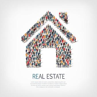 Толпа людей формирует недвижимость