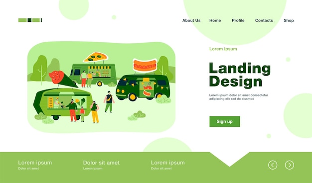 Crowd of people at street food fair in summer landing page in flat style