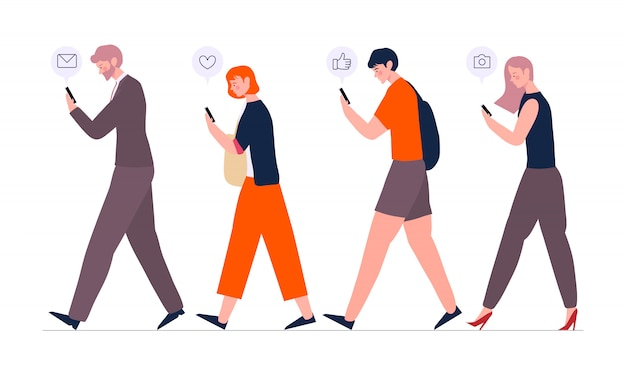 Crowd of people walking using smartphones or mobile phones with messengers and playing social media