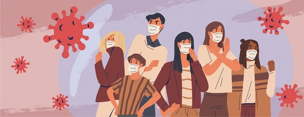Crowd of people wearing medical masks banner. preventive measures, human protection from pneumonia outbreak. coronavirus epidemic concept. respiratory disease, virus spread.   illustration