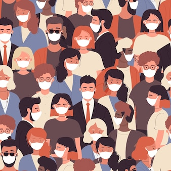 Crowd of people in white medical face mask to protect against coronavirus quarantine