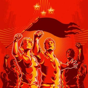 Crowd protest fist revolution poster design