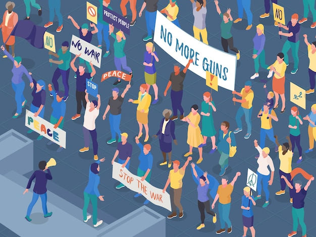 Crowd of protesting people with placards during street action against war isometric horizontal vector illustration