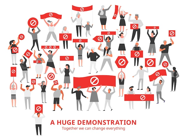 Folla di persone che protestano con il divieto di cartello sui cartelli rossi durante un'enorme dimostrazione bianca illustrazione white