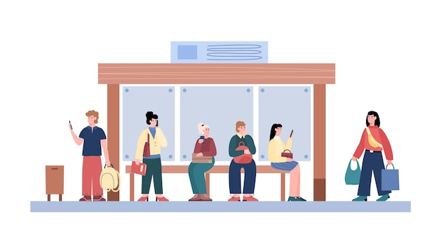 Crowd at public transport bus stop cartoon vector illustration isolated