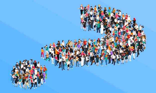 Crowd question mark isometric design concept