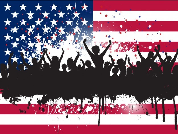 Crowd silhouettes independence day background