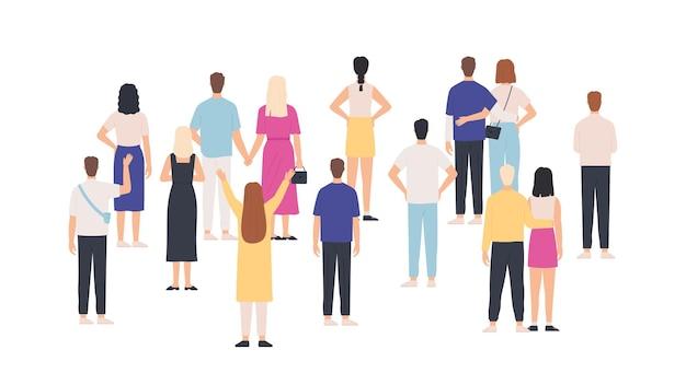 Толпа стоя вид сзади. группа людей сзади. мужчины и женщины встречаются и смотрят. сбор концепции вектора публики, команды или аудитории. толпа женщина и мужчина, обратно иллюстрации